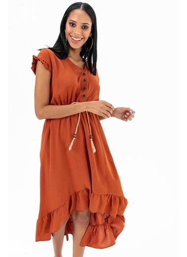 Emjey Eteği Kloş Uzun Elbise Taba